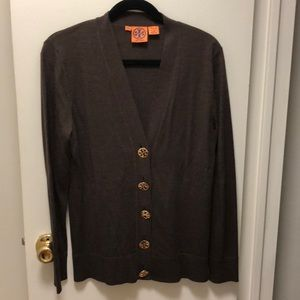 Tory Burch Brown Wool Cardigan, Size Large